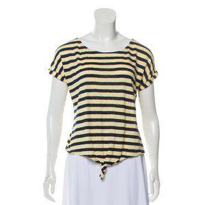 FRAME Yellow Striped Linen Top